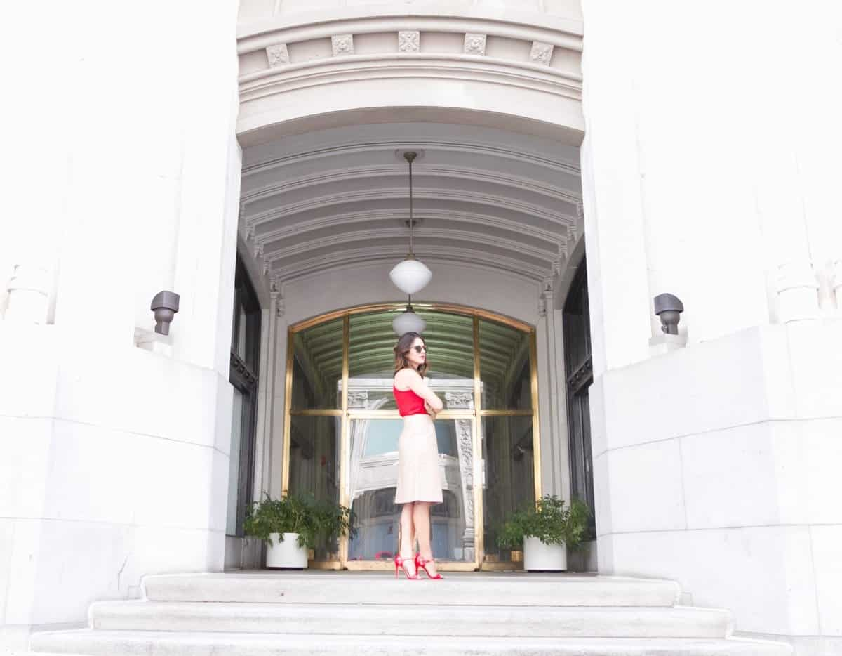 Cream leather midi skirt and red heels via @mystylevita [My Style Vita] - 1 (1)