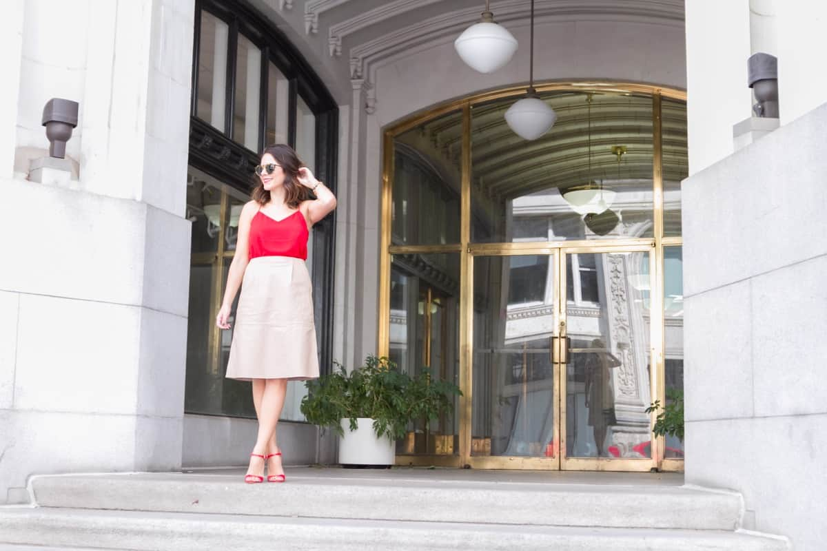Cream leather midi skirt and red heels via @mystylevita [My Style Vita] - 1 (2)