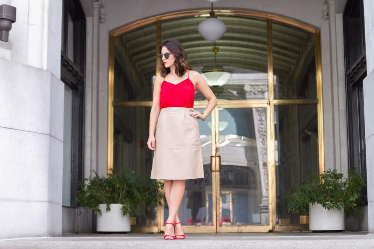 Cream leather midi skirt and red heels via @mystylevita [My Style Vita] - 1 (3)