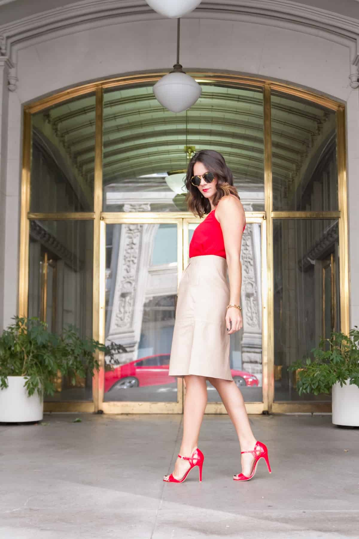 Cream leather midi skirt and red heels via @mystylevita [My Style Vita] - 1