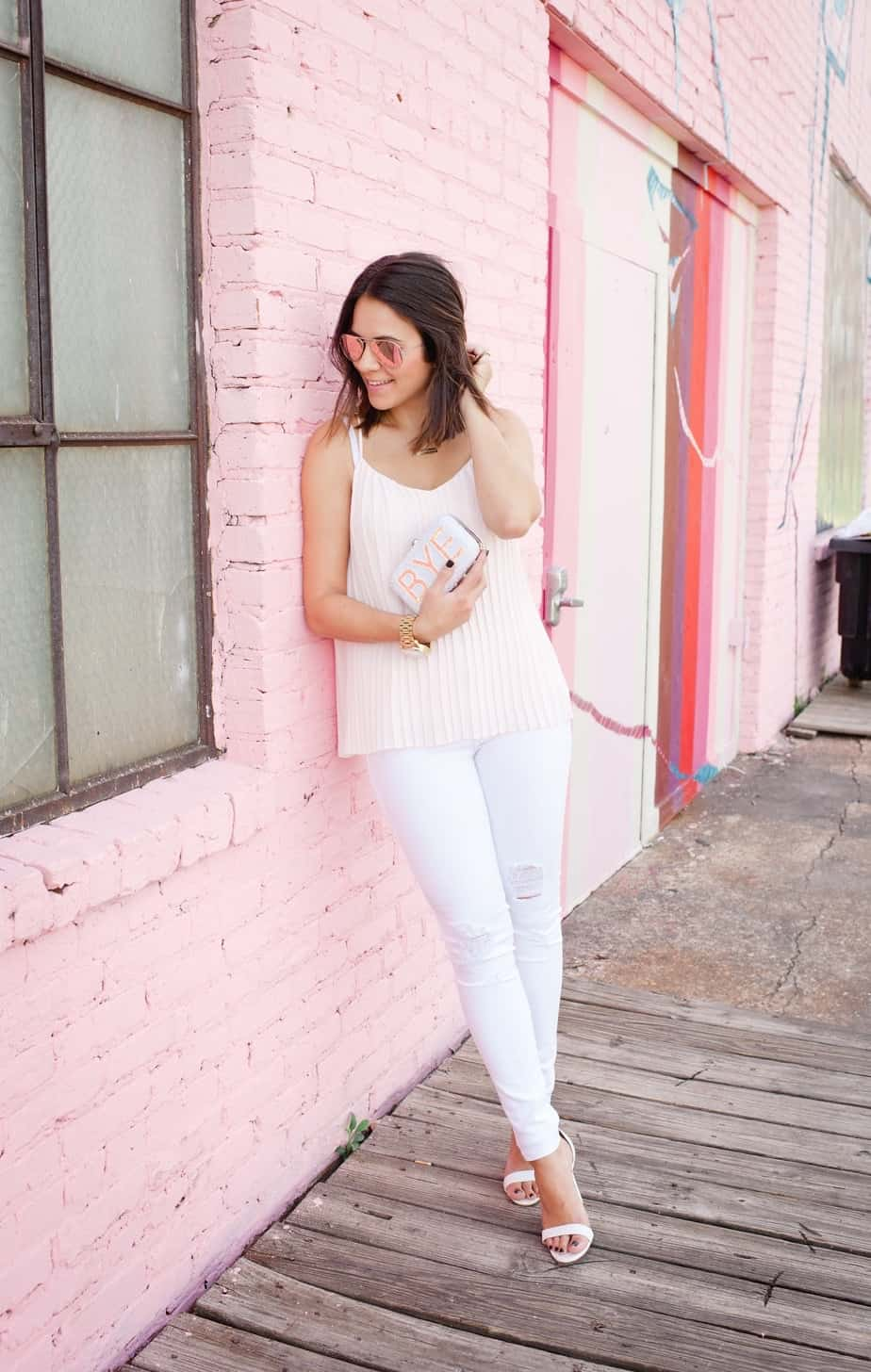 Express pleated blush top and white jeans via @mystylevita [My Style Vita] - 1 (1)