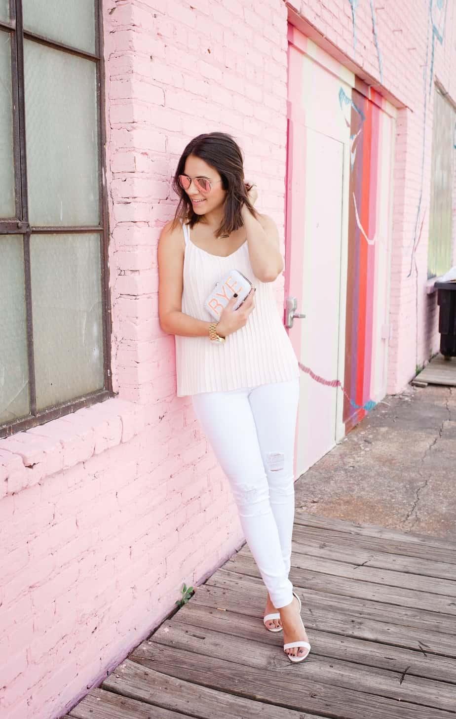 Express pleated blush top and white jeans via @mystylevita [My Style Vita] - 1 (1)