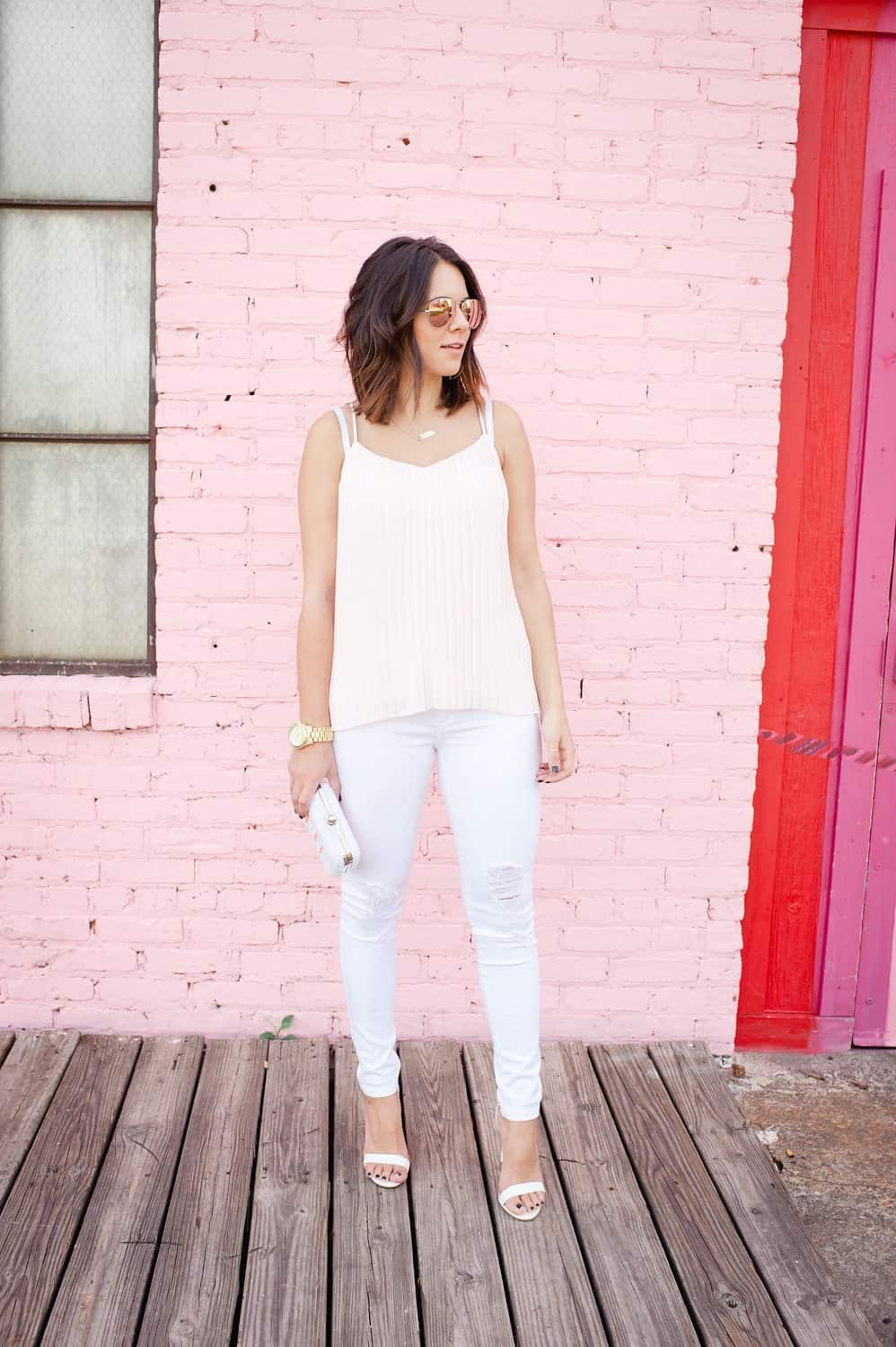 Express pleated blush top and white jeans via @mystylevita [My Style Vita]