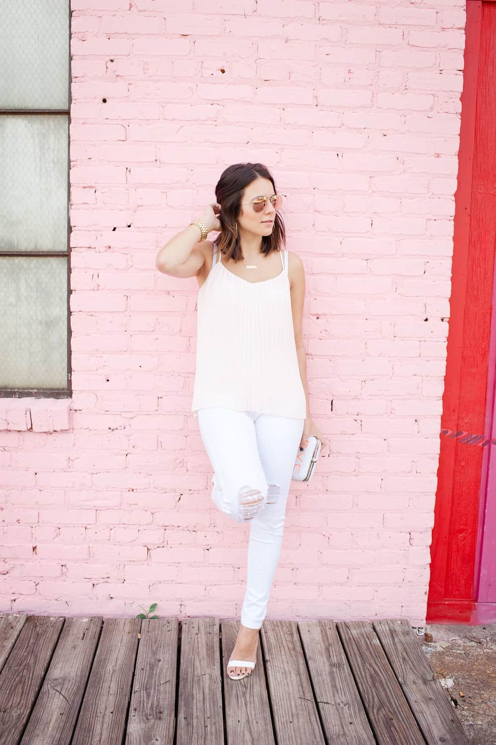 Express pleated blush top and white jeans via @mystylevita [My Style Vita] - 4