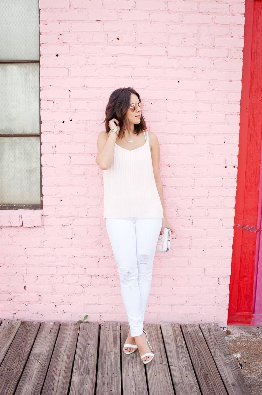 Express pleated blush top and white jeans via @mystylevita [My Style Vita]