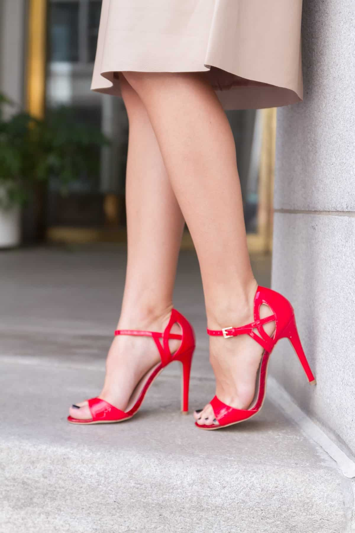 Red strappy heels and a cream leather skirt via @mystylevita [My Style Vita] - 1