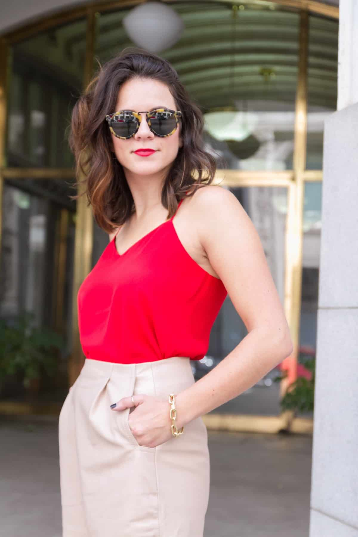red tank and cream leather midi skirt via @mystylevita [My Style Vita] - 1