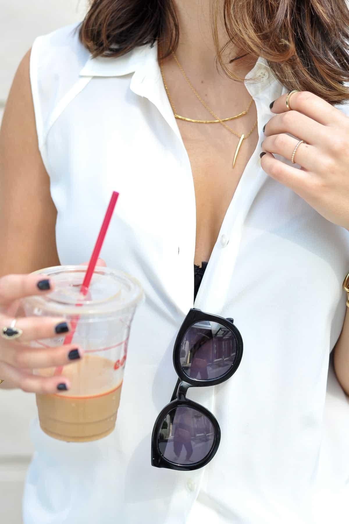 white button down and black lace bra via @mystylevita [My Style Vita]
