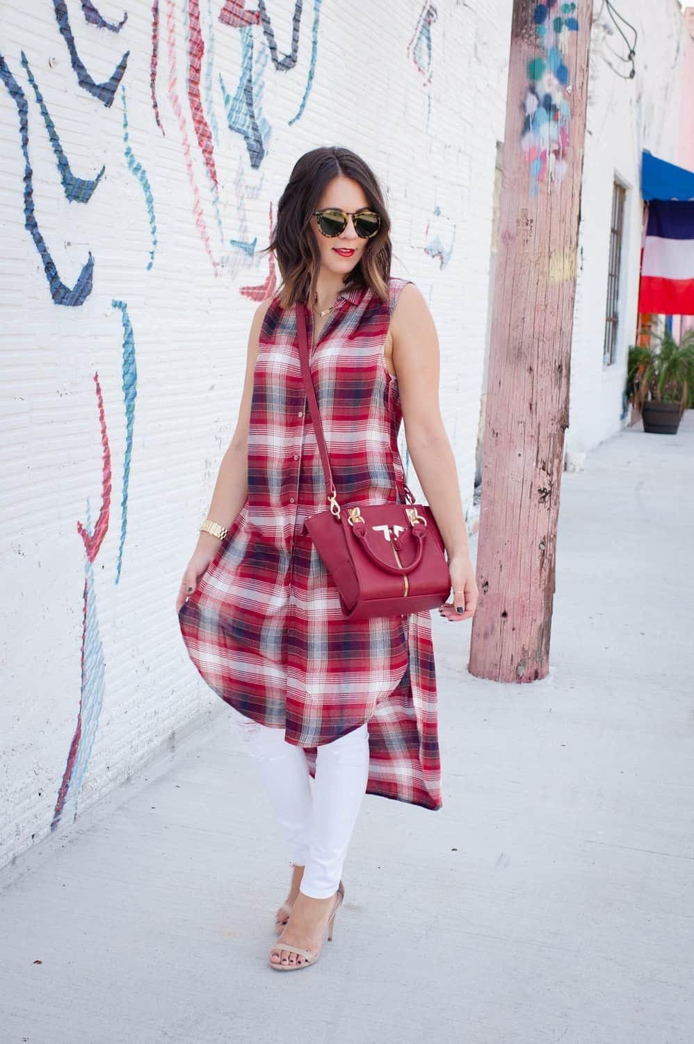 Plaid long shirt and white jeans for fall via @mystylevita [My Style Vita] - 9