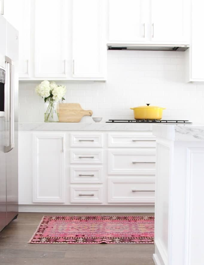 colorful Kitchen rug ideas, grey and white kitchen