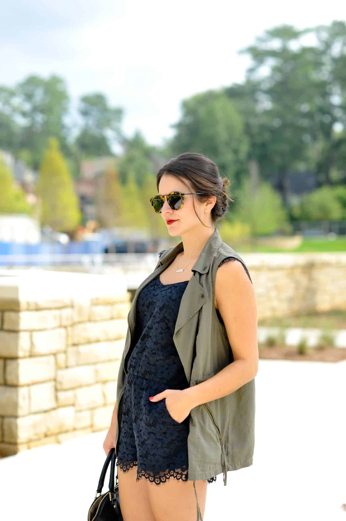 lace romper and vest outfit via @mystylevita [My Style Vita]