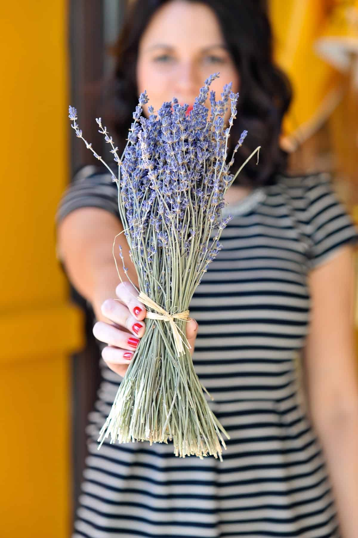 Lavender, striped dress and lavender flowers - My Style Vita @mystylevita