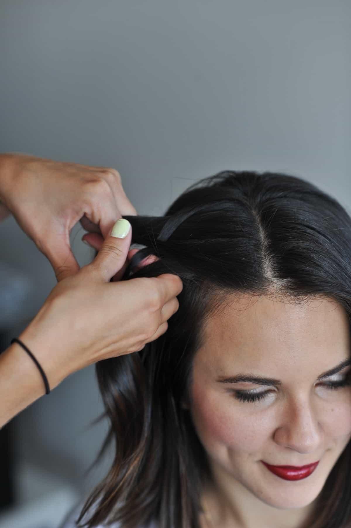 fishtail braid half up short hair via @mystylevita - Fishtail braid tutorial for short hair
