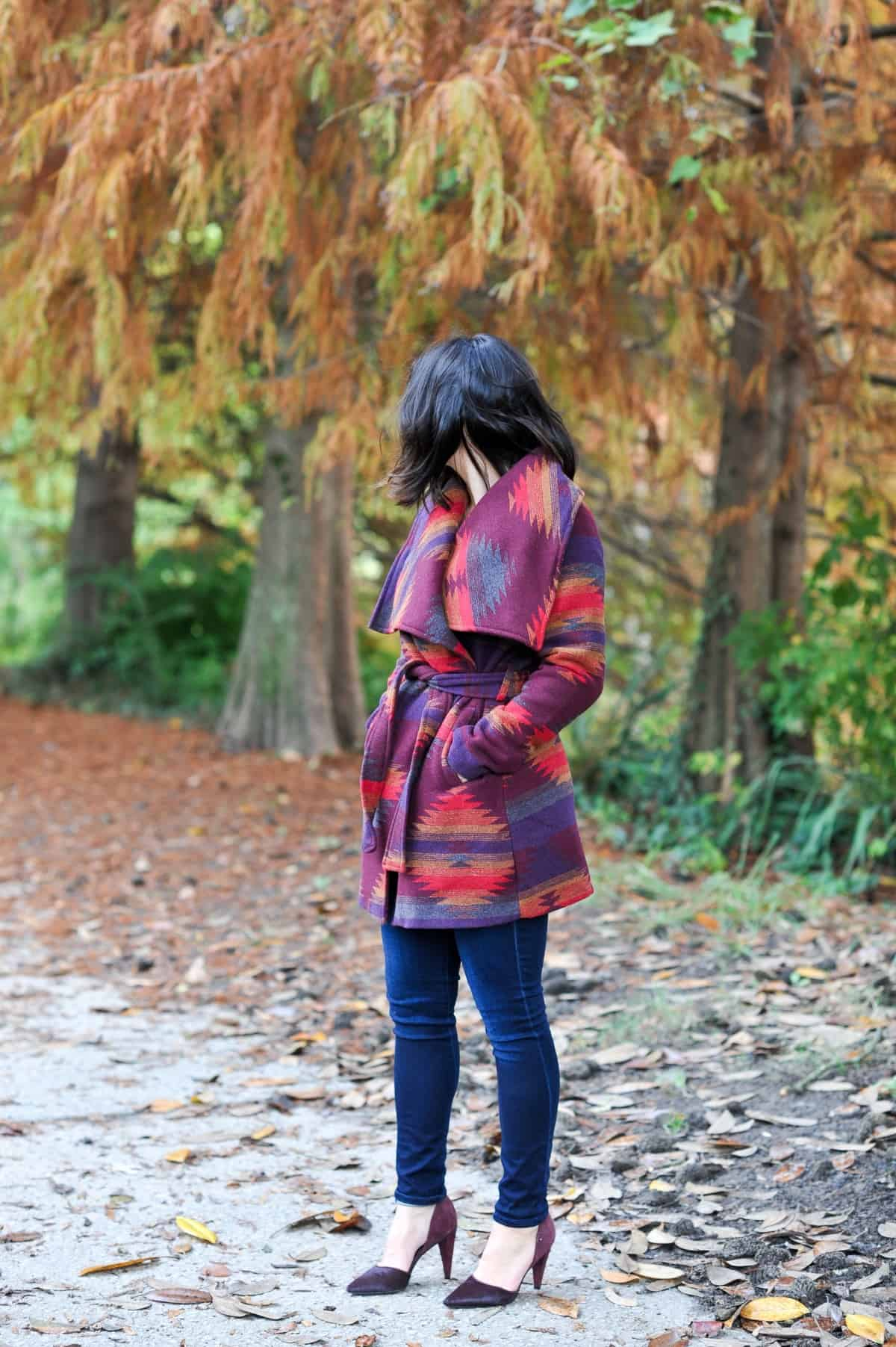 Aztec Wrap Coat, Winter outfit ideas via @mystylevita - 10