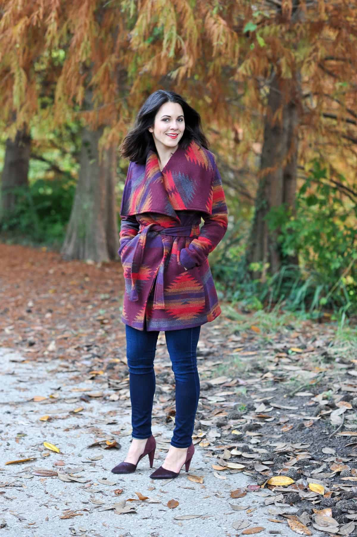 Aztec Wrap Coat, Winter outfit ideas via @mystylevita - 11