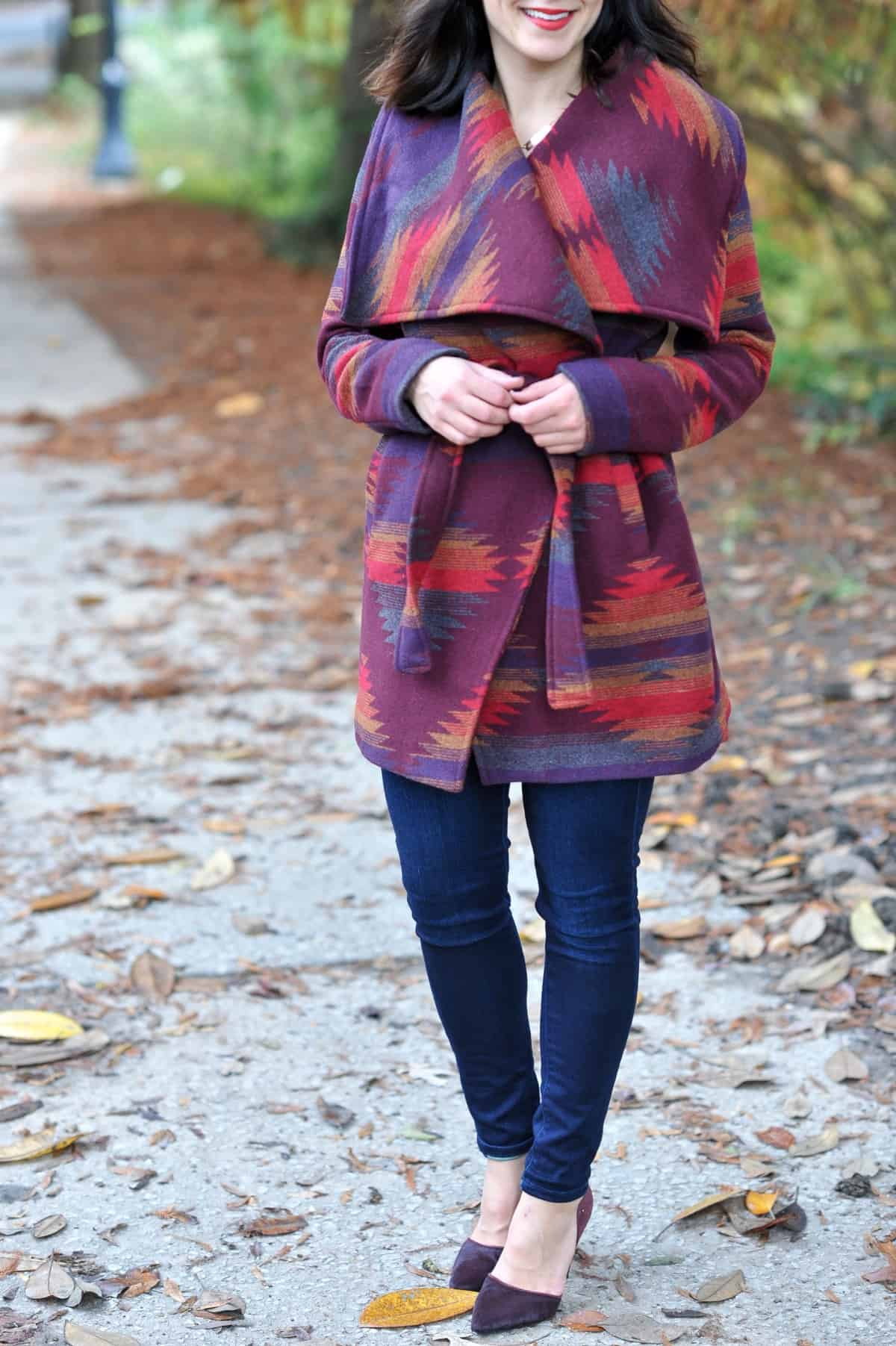 Aztec Wrap Coat, Winter outfit ideas via @mystylevita - 13