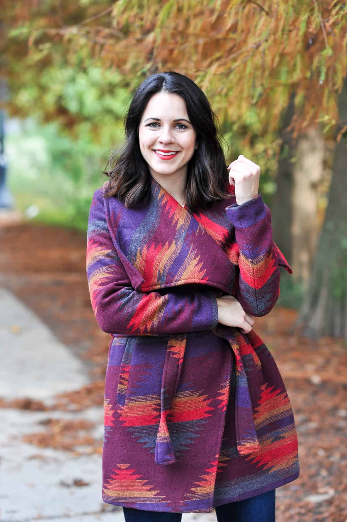 Aztec Wrap Coat, Winter outfit ideas via @mystylevita - 8