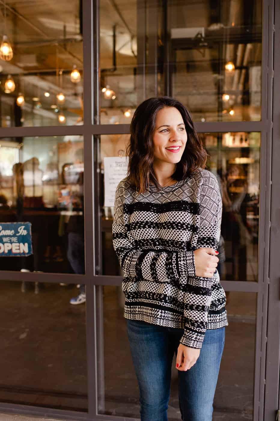 embellished holiday sweater, dainty jewelry - My Style Vita @mystylevita