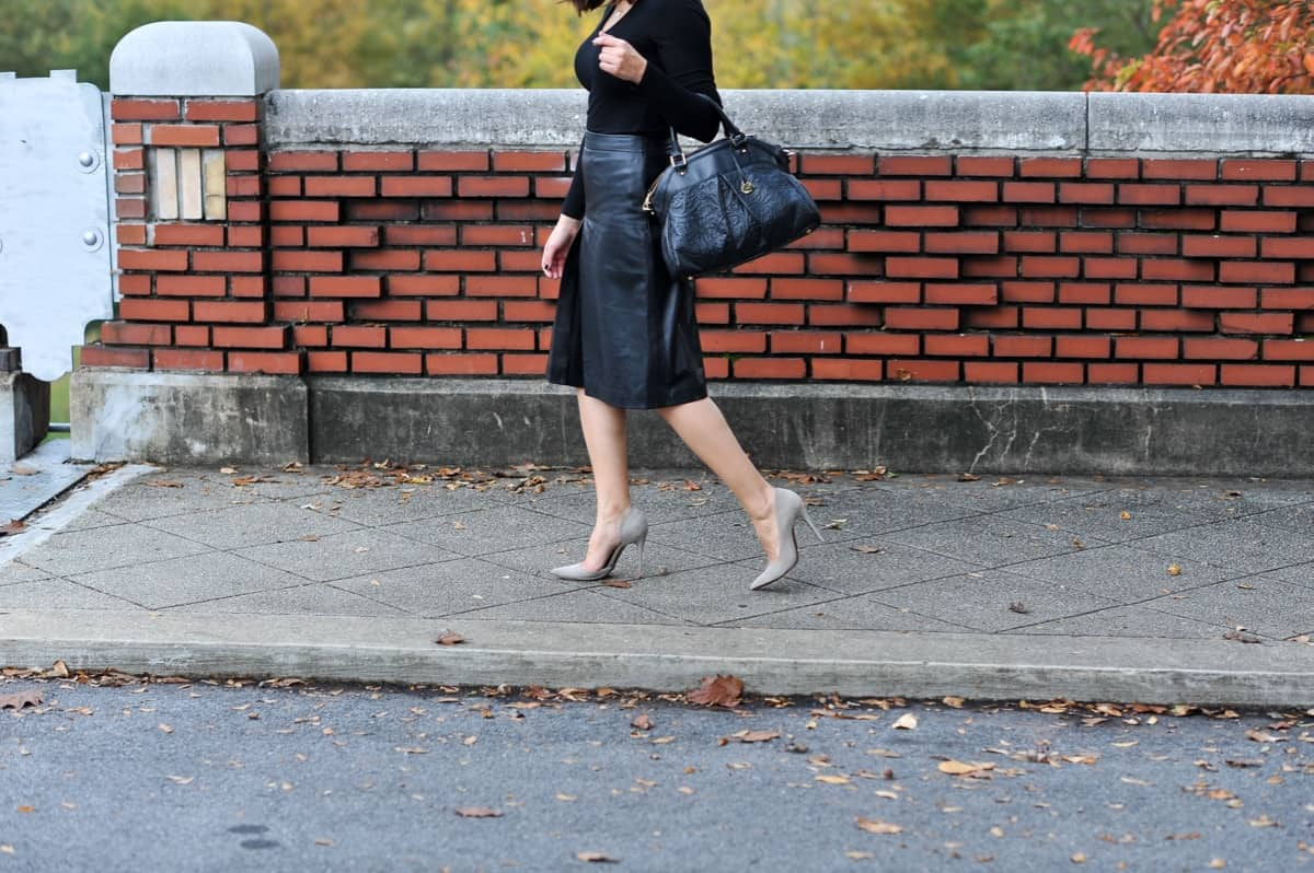 Leather A-Line midi skirt, all black outfit ideas via @mystylevita