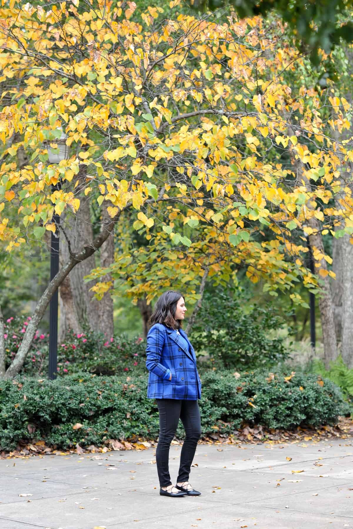 Old Navy Cobalt Plaid Coat, blue sweater, fall outfit ideas via @mystylevita