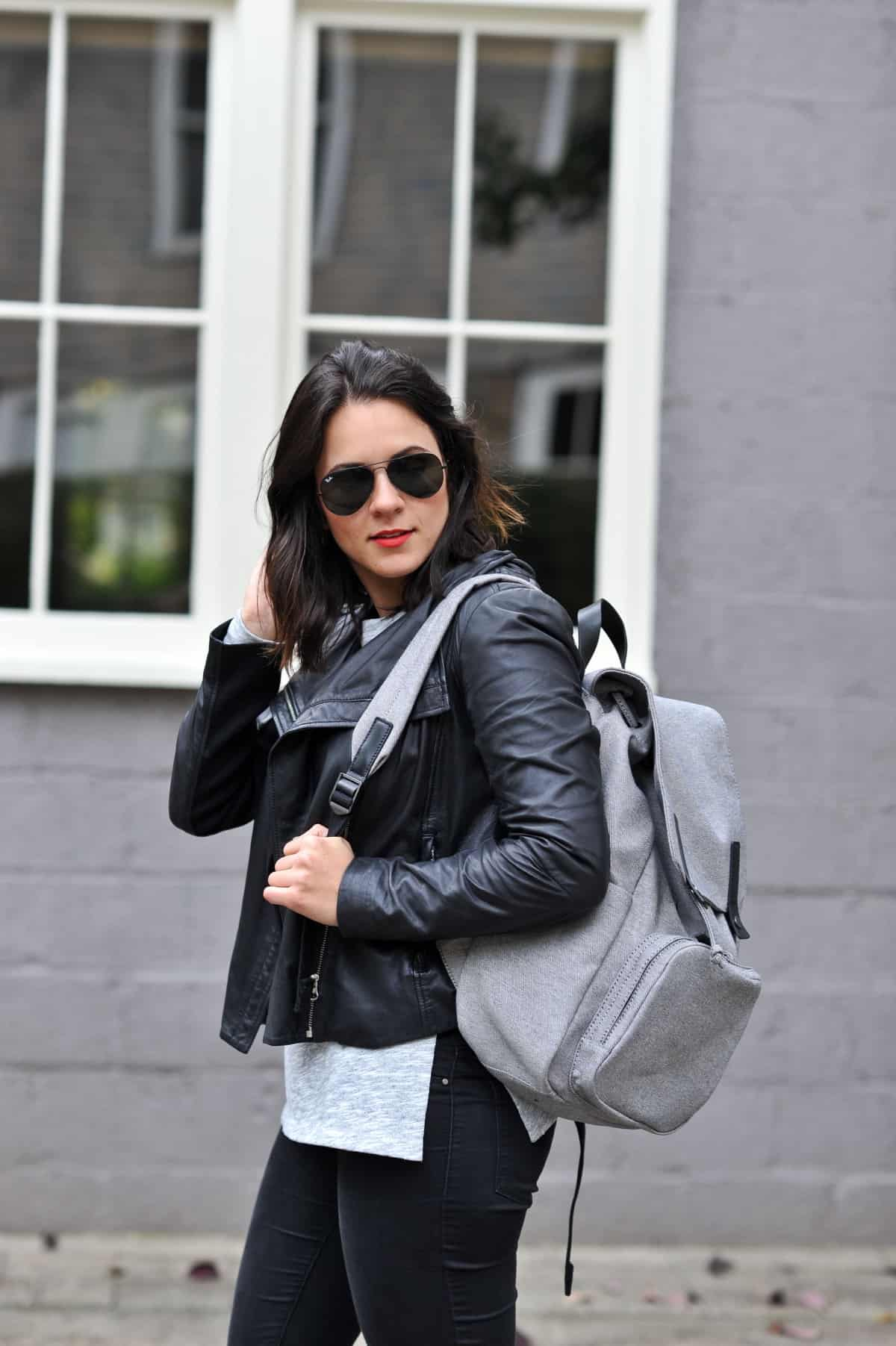 Black and grey outfit, how to style a backpack, casual outfit ideas via @mystylevita