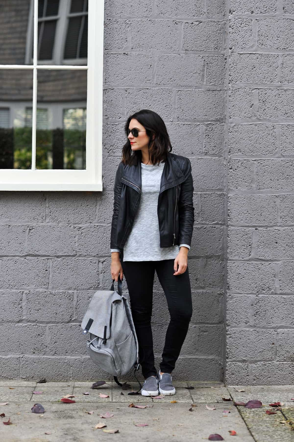 good grey vans outfit black