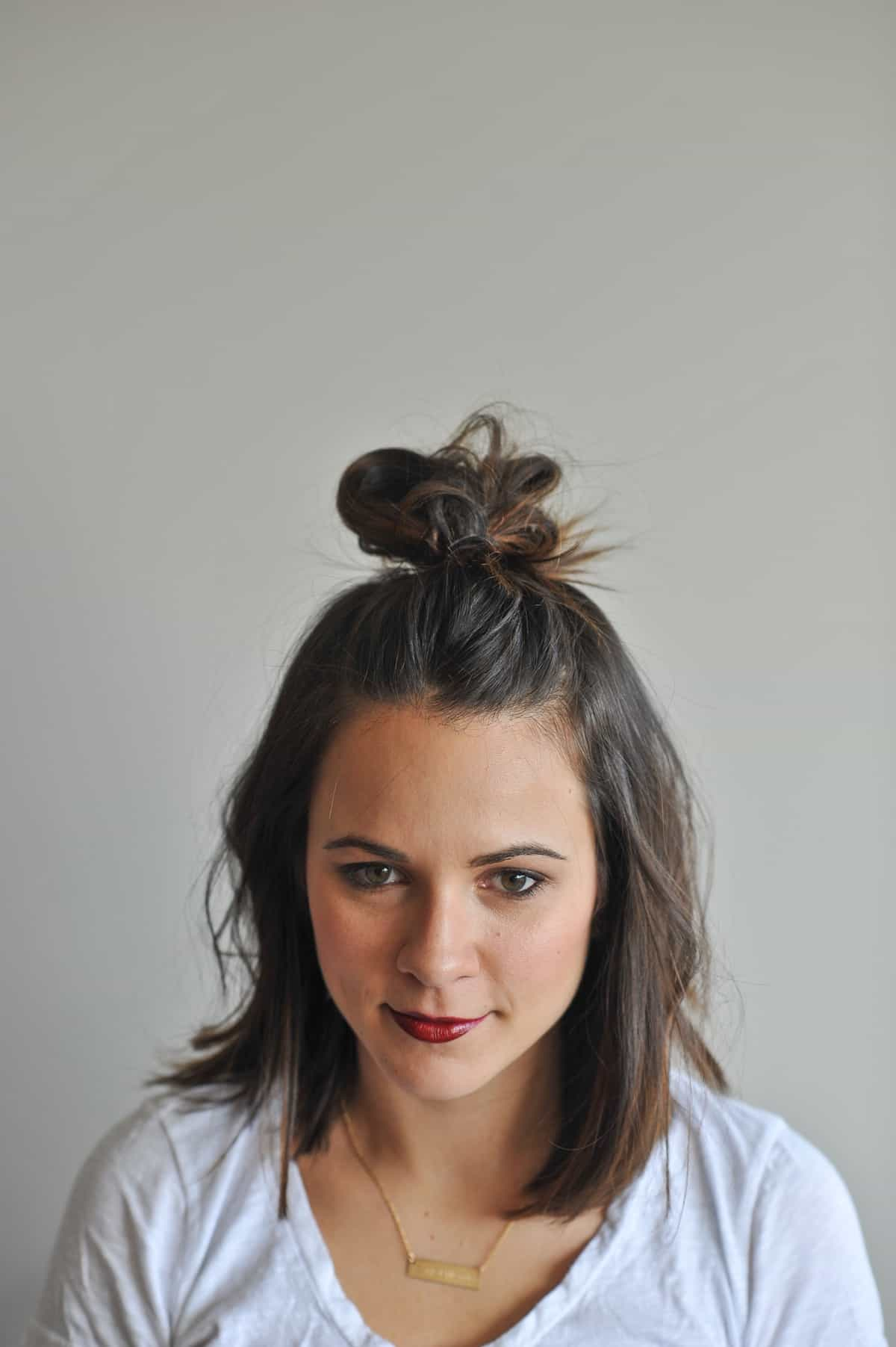 How To Do A Half Top Knot With Short Hair