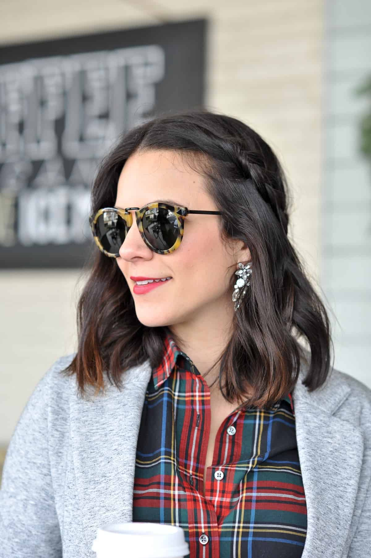 Plaid shirt and blazer - statement earrings, holiday style - @mystylevita