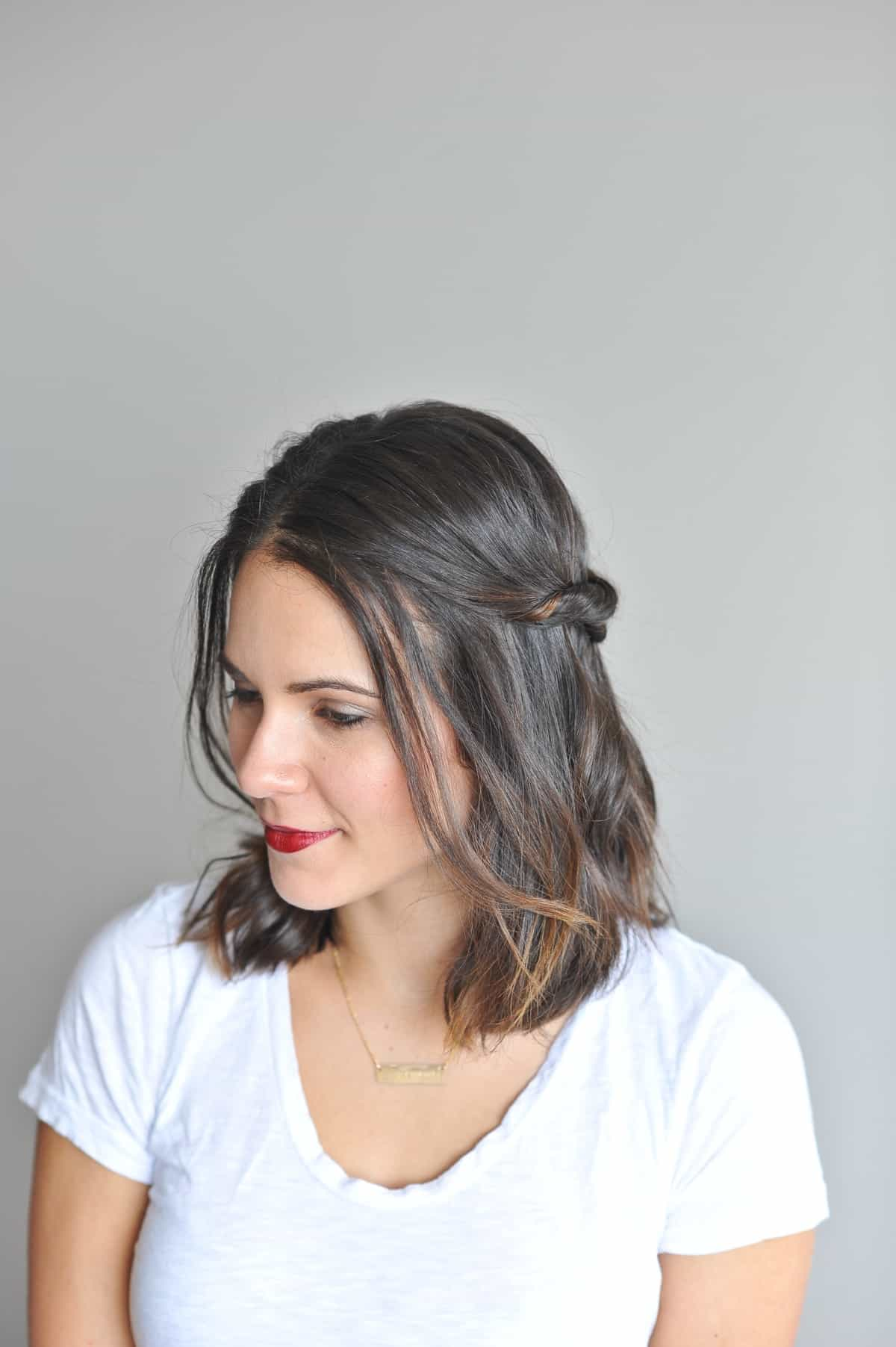 double twisted half up hair do, short hair style ideas - @mystylevita - 15