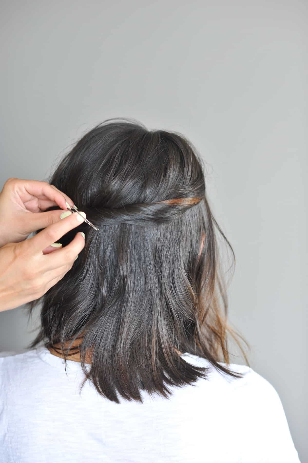 double twisted half up hair do, short hair style ideas - @mystylevita - 5