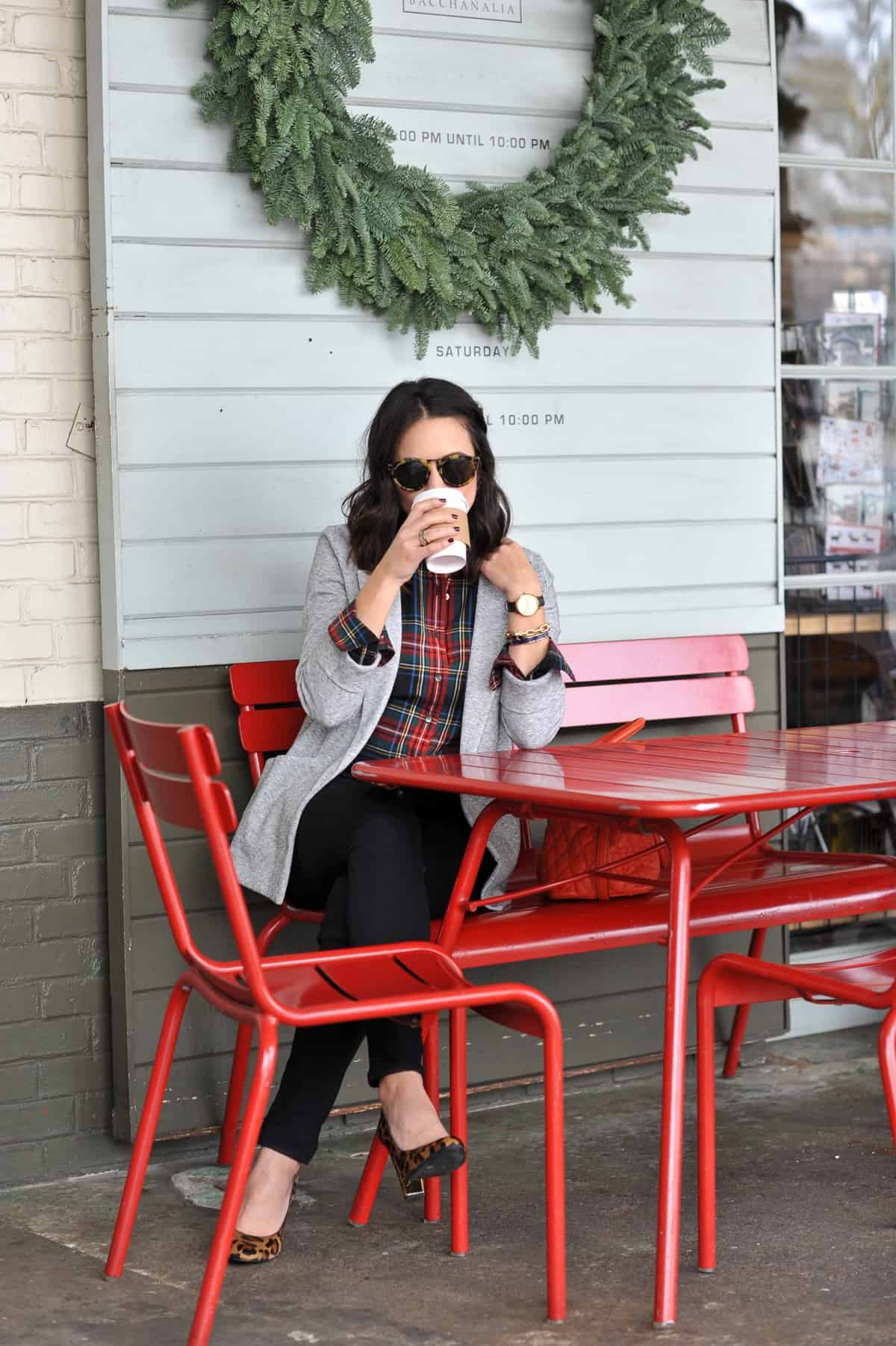 Plaid shirt and blazer - statement earrings, holiday outfit ideas, coffee and jewelry - @mystylevita