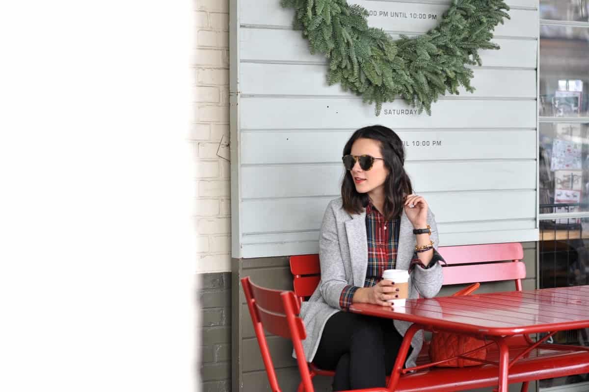 Plaid shirt and blazer - statement earrings, holiday outfit ideas - @mystylevita
