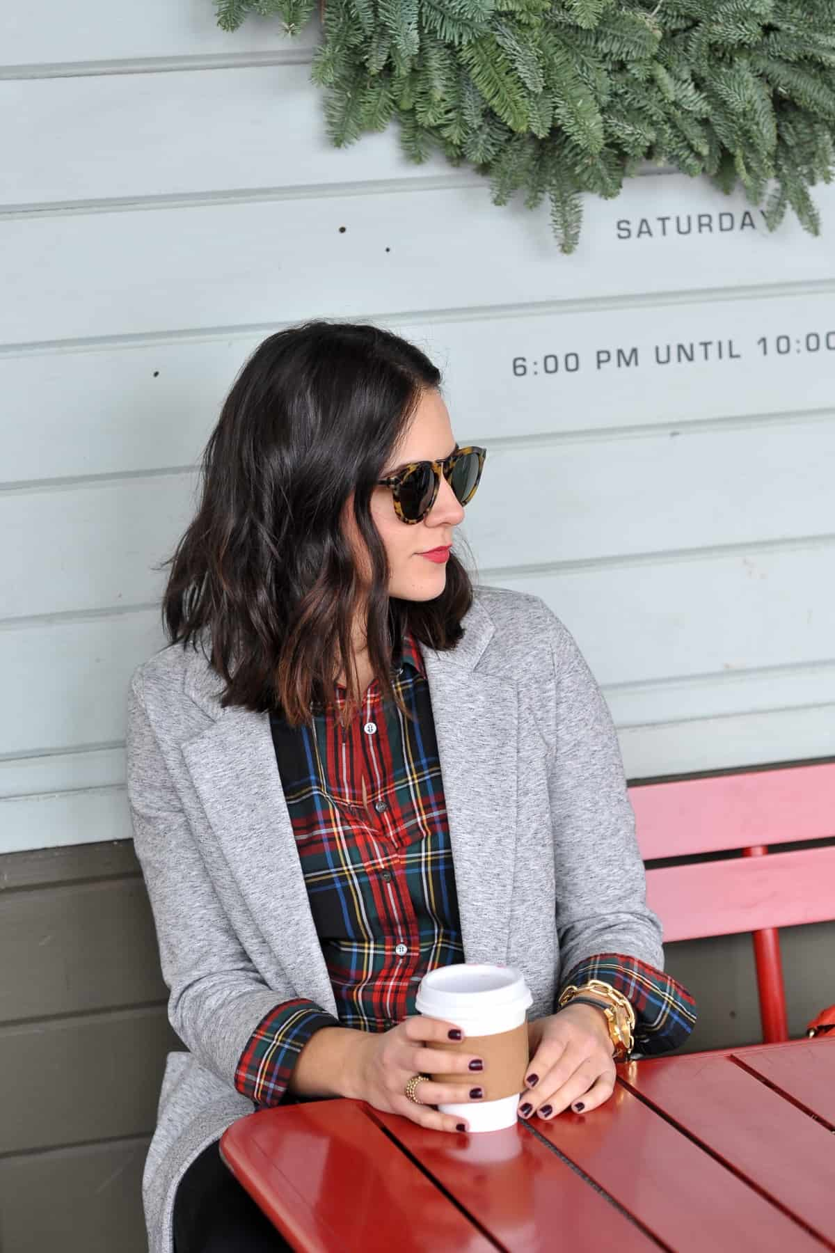 Plaid shirt and blazer - statement earrings, holiday outfit ideas, photos of coffee - @mystylevita