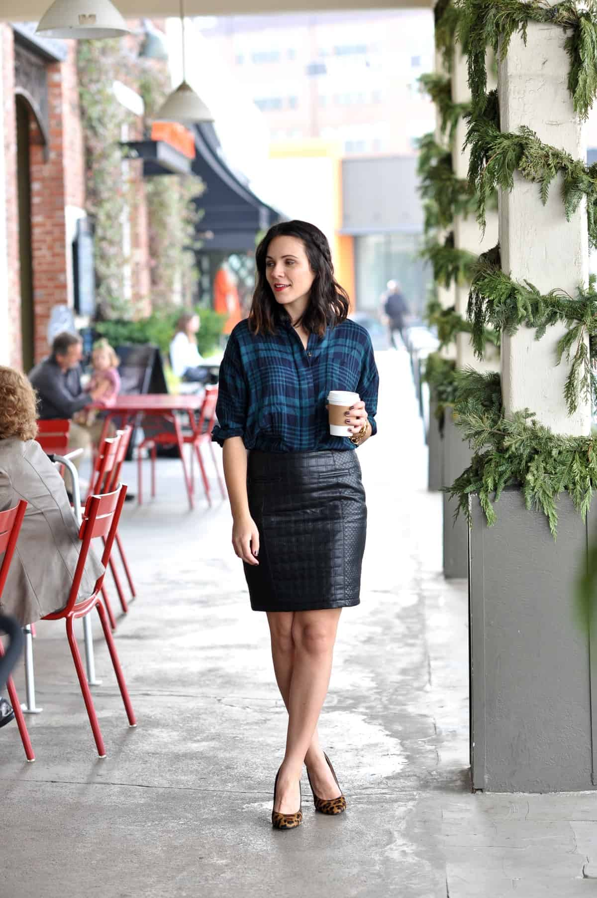 2a6c39ad4 L. Mae Boutique Plaid Button Down c/o | Ann Taylor Leather Pencil Skirt  (similar) | Heels (similar)