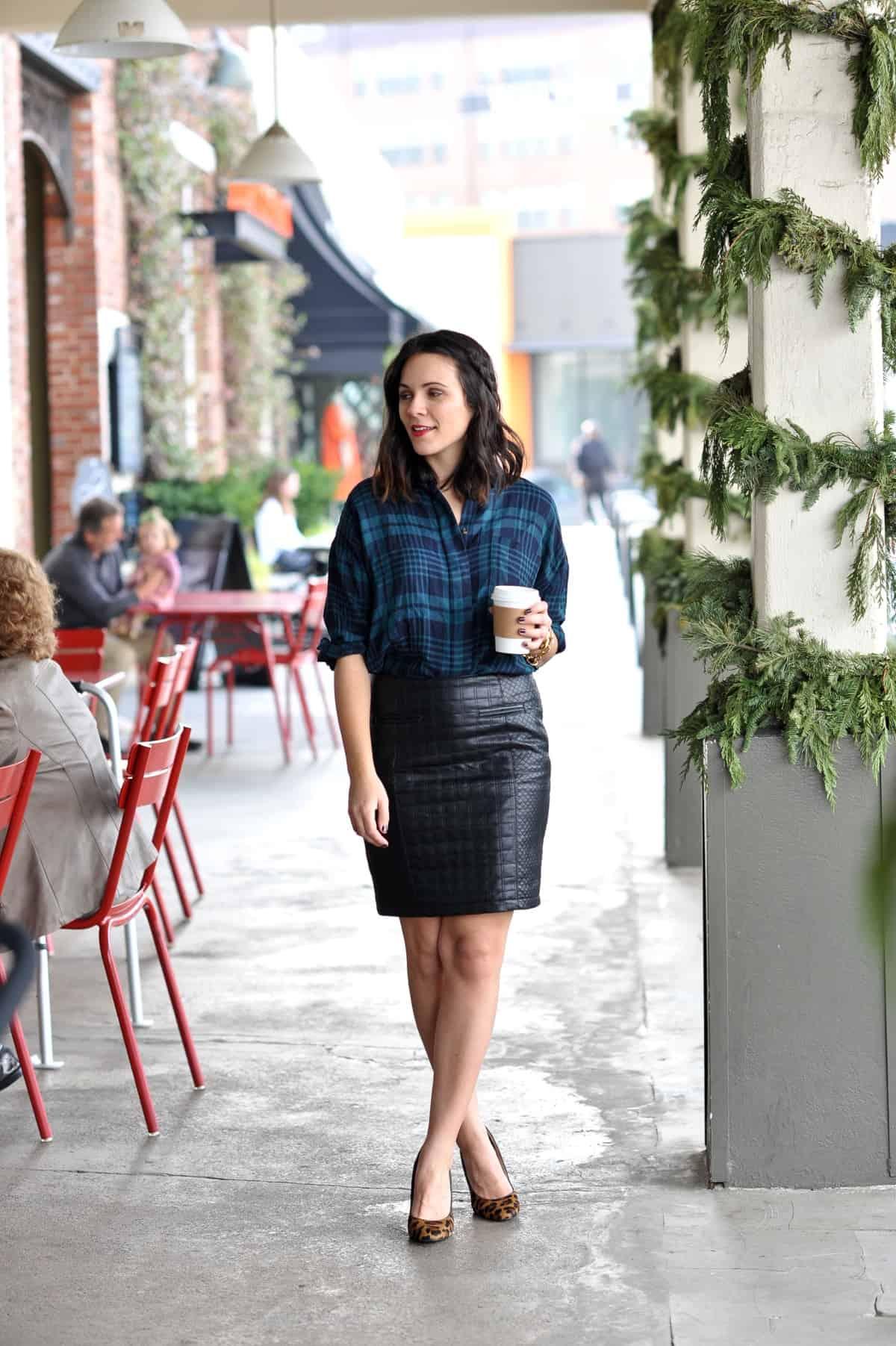 plaid shirt and leather skirt - @mystylevita
