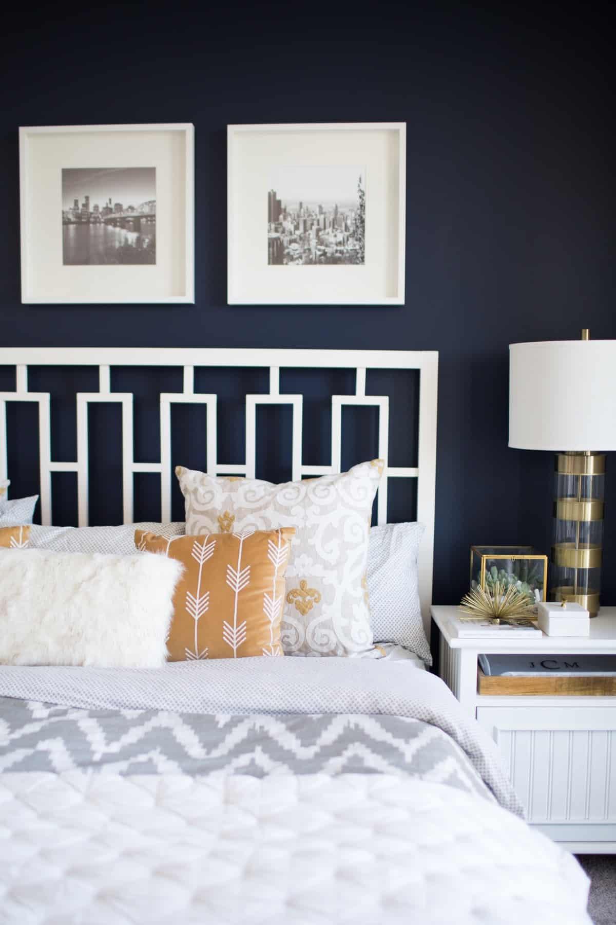 navy wall, navy bedroom ideas - @mystylevita