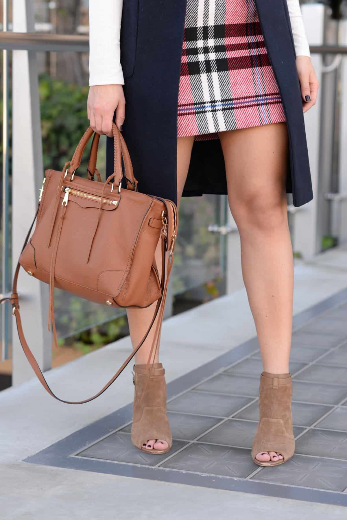plaid skirt outfit, plaid skirt and long vest, fashion inspiration, fall outfit ideas - @mystylevita