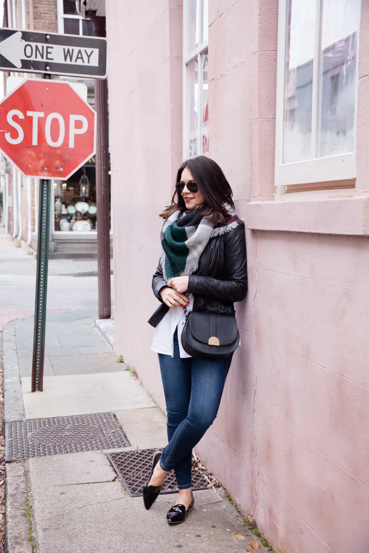 leather jacket and blanket scarf outfit - @mystylevita - 10