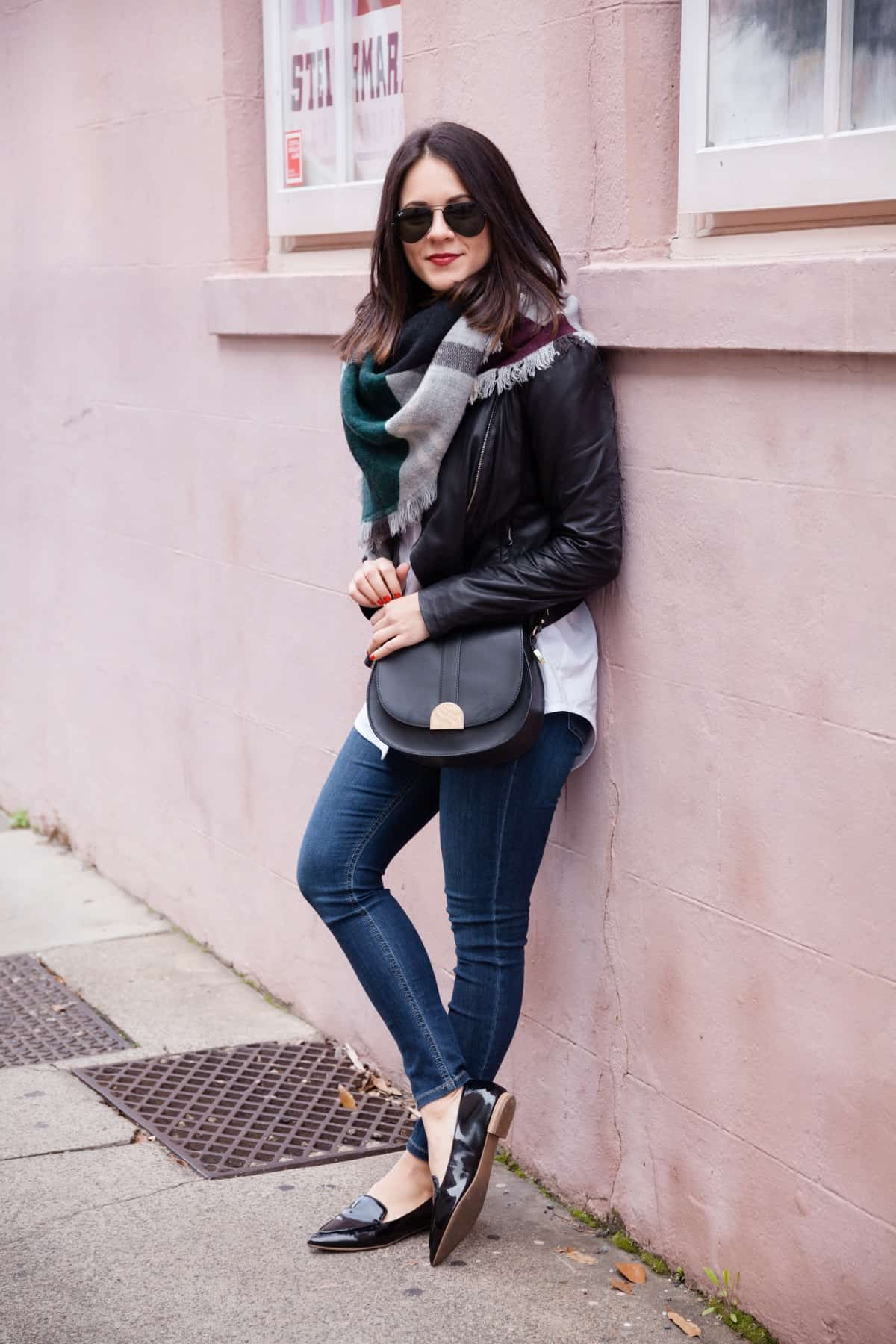 leather jacket and blanket scarf outfit - @mystylevita - 13