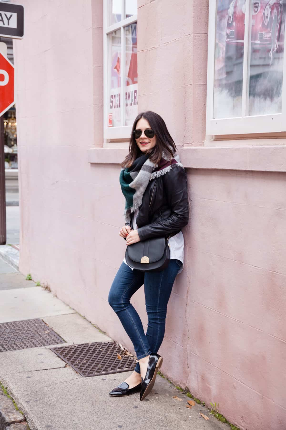 leather jacket and blanket scarf outfit - @mystylevita - 14