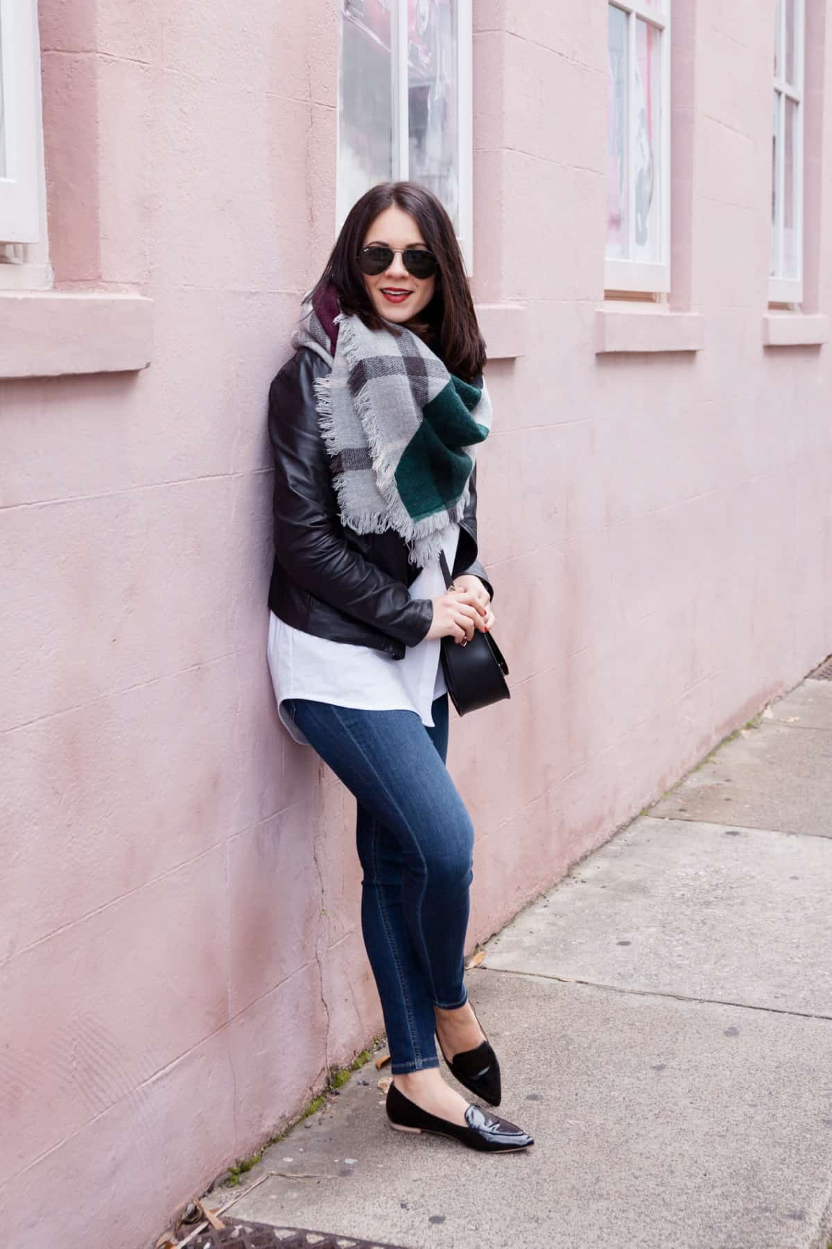 leather jacket and blanket scarf outfit - @mystylevita - 15