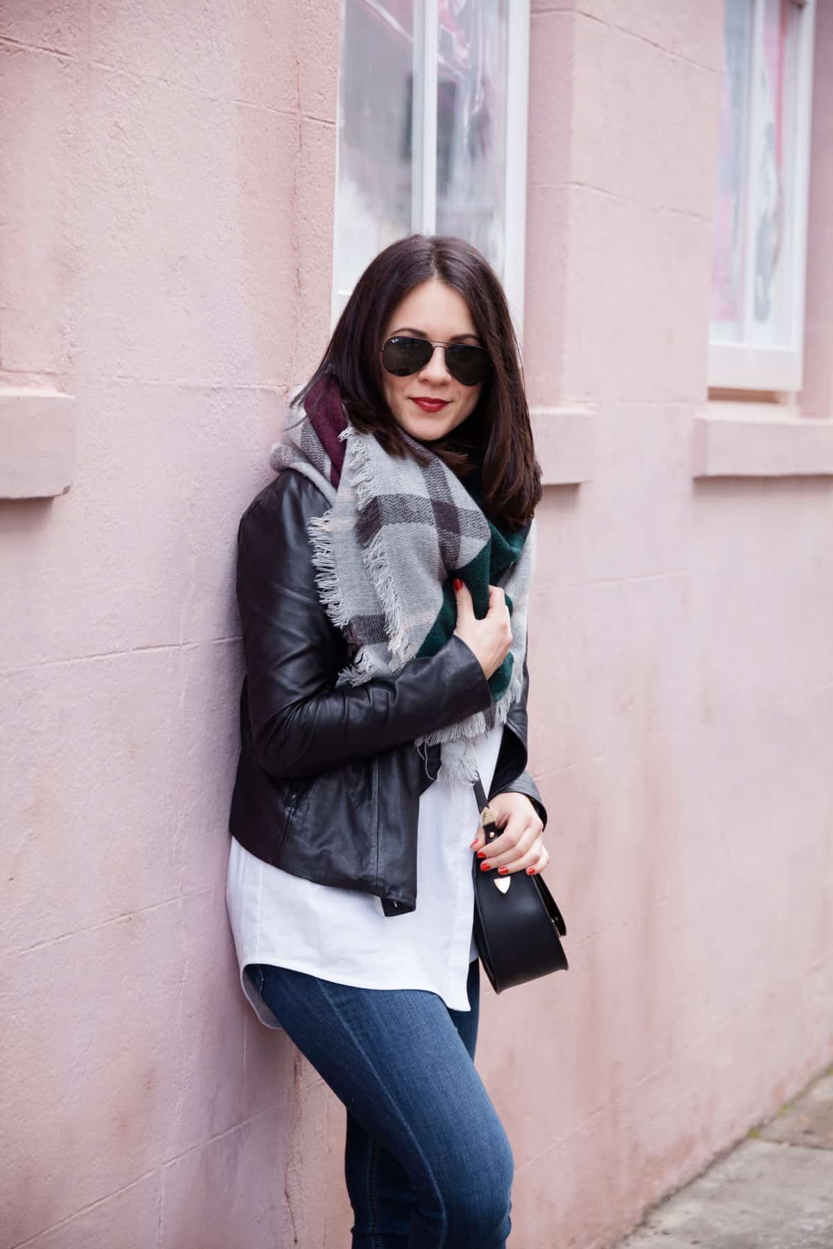 leather jacket and blanket scarf outfit - @mystylevita - 16