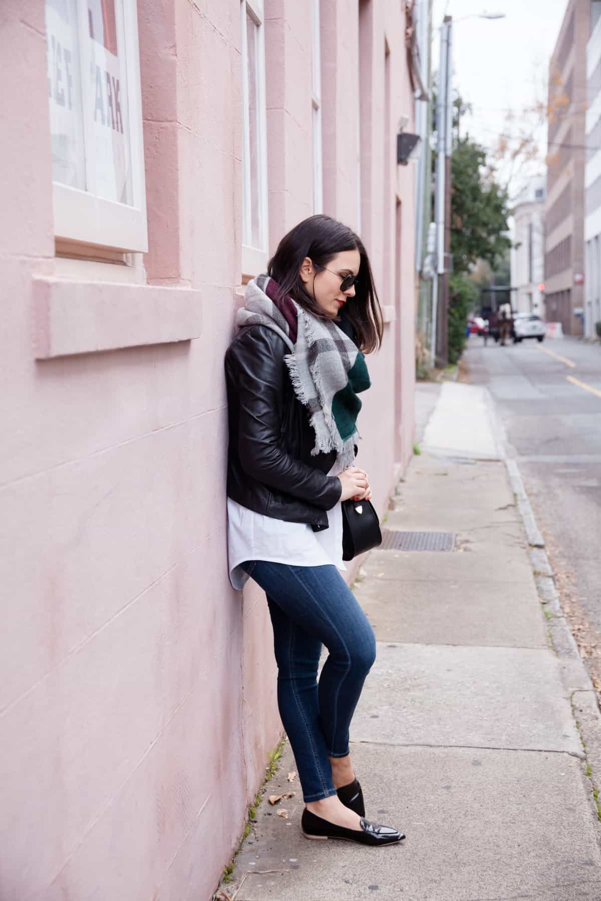 leather jacket and blanket scarf outfit - @mystylevita - 17
