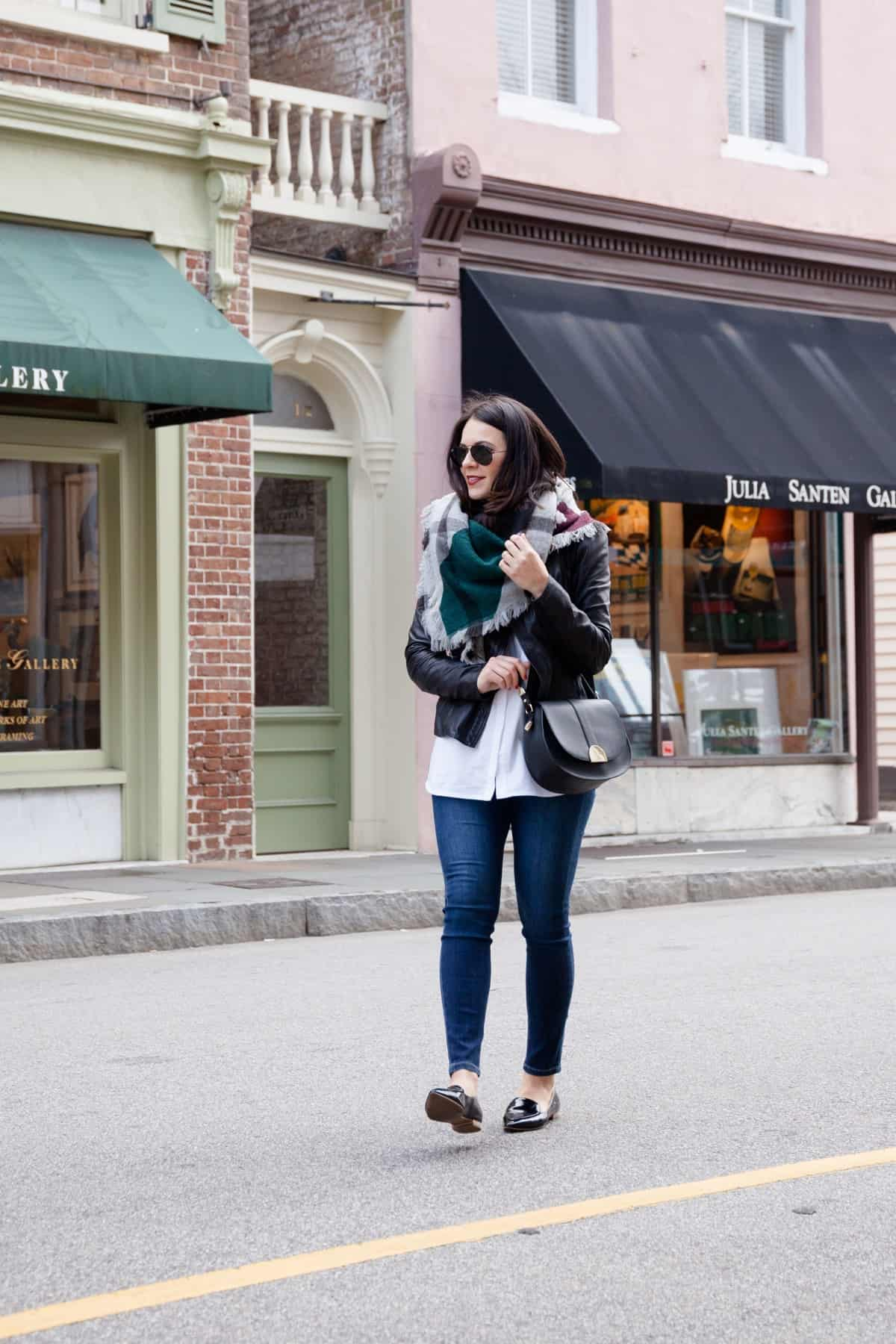 leather jacket and blanket scarf outfit - @mystylevita - 2