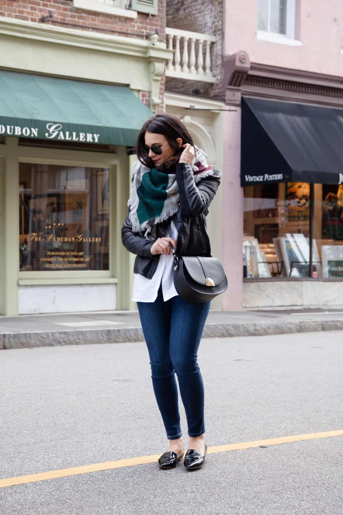 leather jacket and blanket scarf outfit - @mystylevita - 5