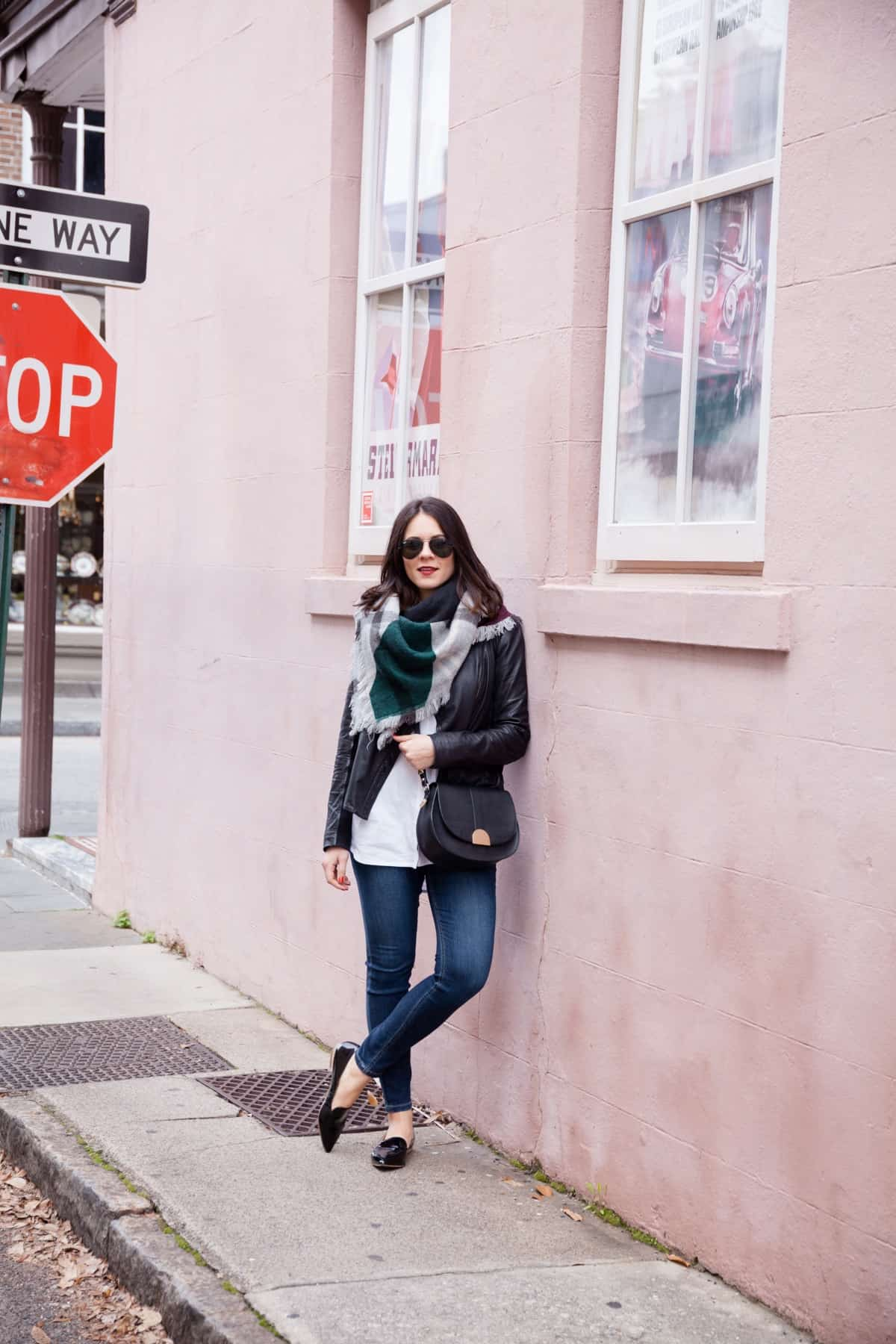 leather jacket and blanket scarf outfit - @mystylevita - 8