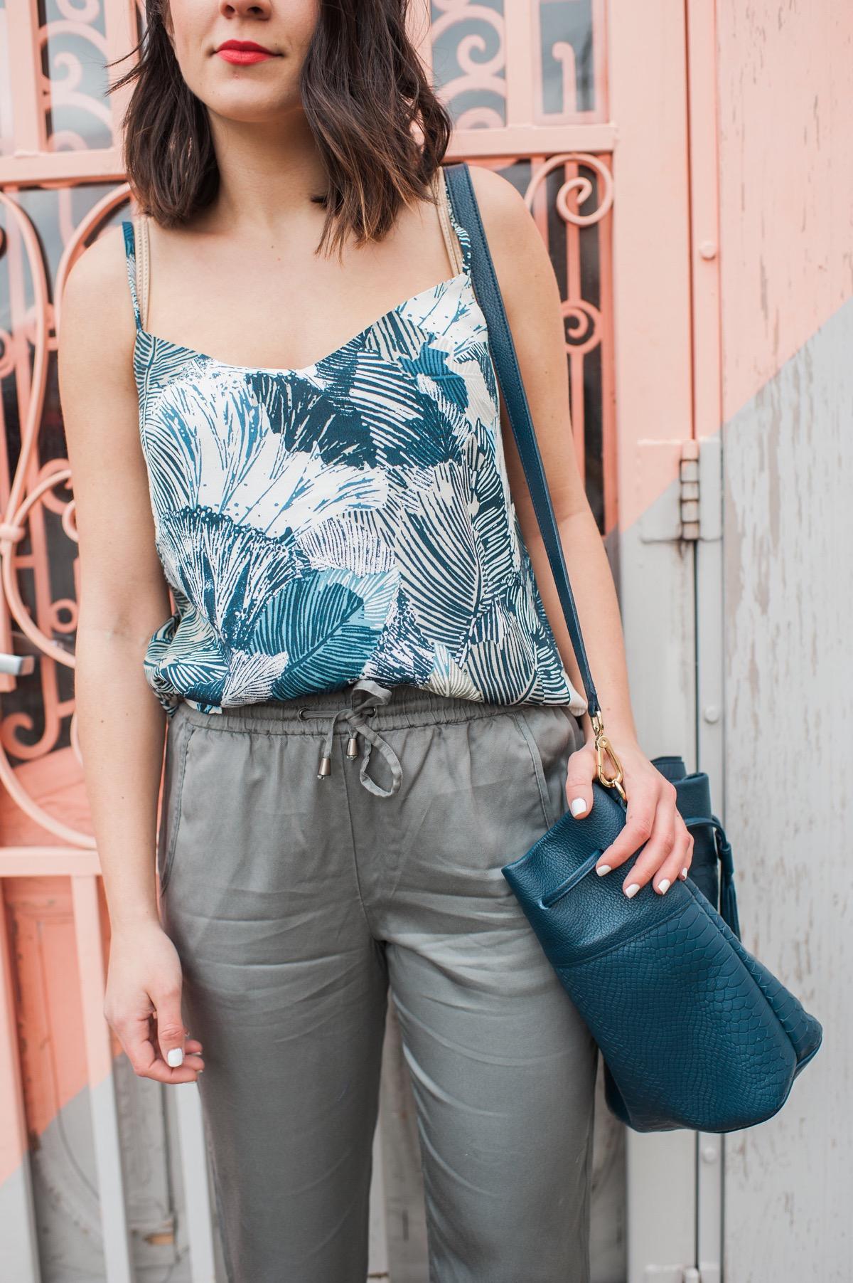 FCUK palm print tank and jogger pants - fashion blog - outfit ideas - @mystylevita