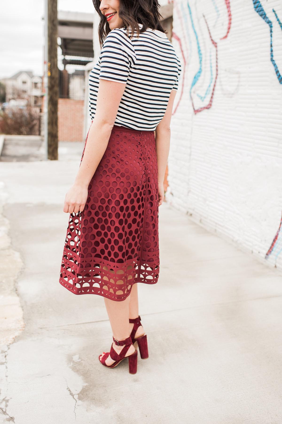 striped tee and midi skirt outfit ideas - My Style Vita @mystylevita