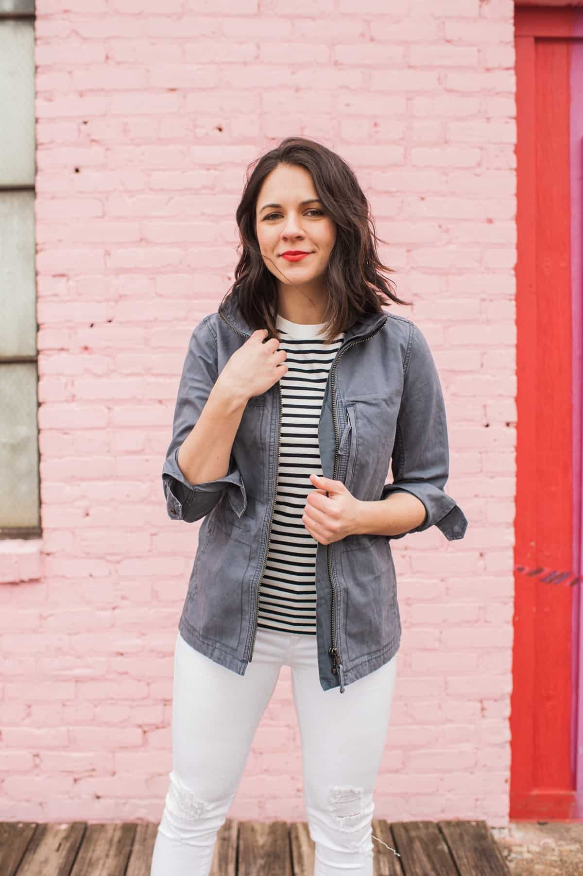 striped tee and white jeans outfit - fasion blog - @mystylevita