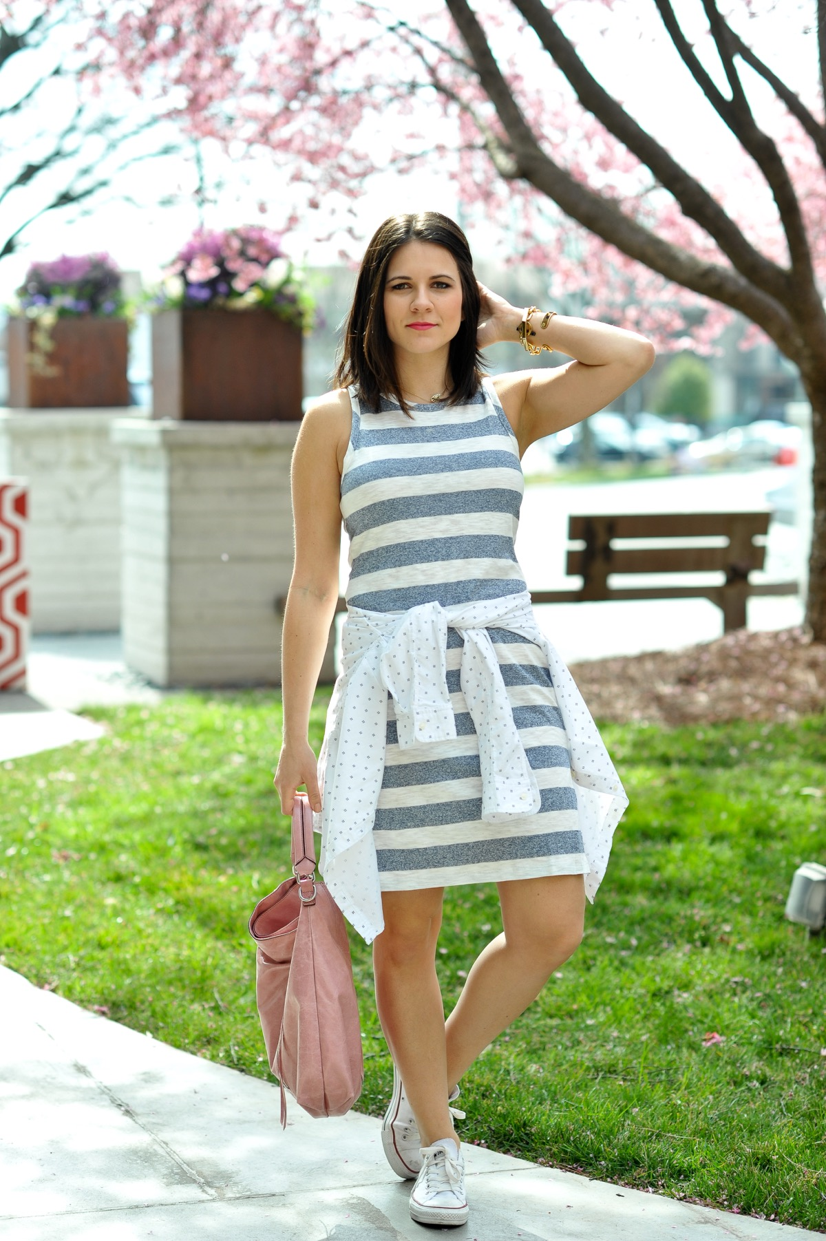 cotton dress and converse for summer